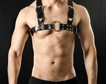 Black Leather Harness for men