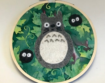 """Totoro Embroidery Hoop Art Soot Sprite Studio Ghibli 4"""" Hoop"""