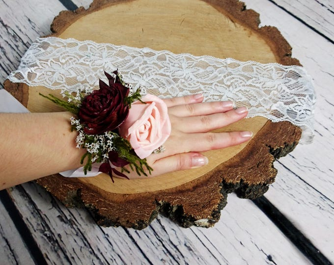 Blush pink wrist corsage burgundy green rustic wedding bridesmaids mother Sola Flower greenery cypress burlap woodland cedar rose maroon