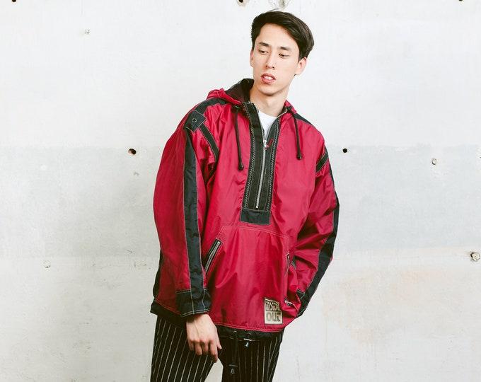 Anorak Windbreaker Jacket . Mens 90s Anorak Jacket Bold Windbreaker 90s Jacket Sports Rain Jacket 90s Clothing . size Extra Large XL