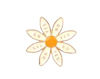 White Yes No Daisy Lapel Pin