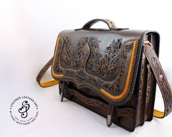 István - Handmade Leather Briefcase, Leather Laptop Bag, Leather Attaché-case, Gift for Him, Gift for anniversary