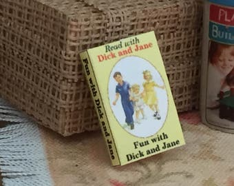 """Miniature Book, """"Dick and Jane"""", Printed Inside Pages, Dollhouse Miniature, 1:12 Scale, Color Pages, Mini Book, Readable Mini Book"""
