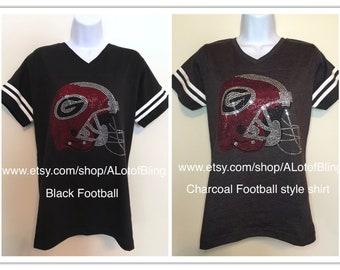 UGA Bulldogs  Helmet Rhinestone T-Shirt