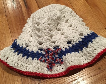 Baby cotton handmade crochet sun hat