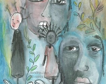 Southern Slaw Original Painting African Americana Outsider Art Watercolor Ink