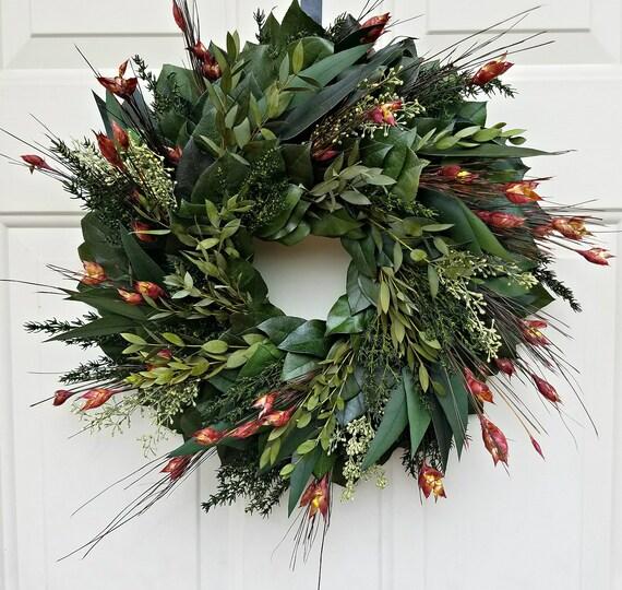Reserved for Donna - Preserved fall wreath, eucalyptus wreath, leaf wreath, foliage wreath, gift wreath, natural wreath