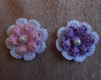 4 crochet flower/crocheted flower