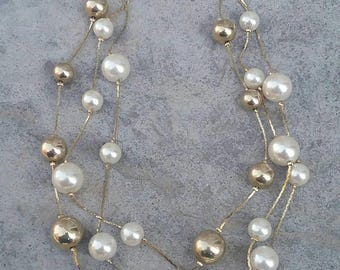 Gold and Pearl Necklace, Multi Strand Necklace, Vintage Necklace, Three Strand Necklace, Necklace, Gold Necklace, Pearl Necklace