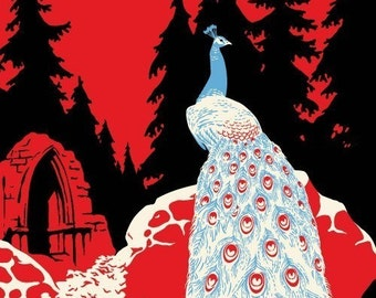 Peacock Feather Print, Castle Ruins, Forest Fairytale - Giclee Print