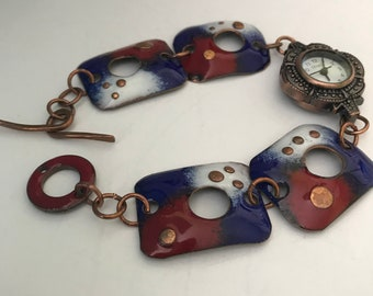 Red White Blue Copper Enameled Watch