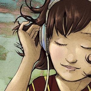"Easy Listening - 11x14"" illustration art print- ready to ship"