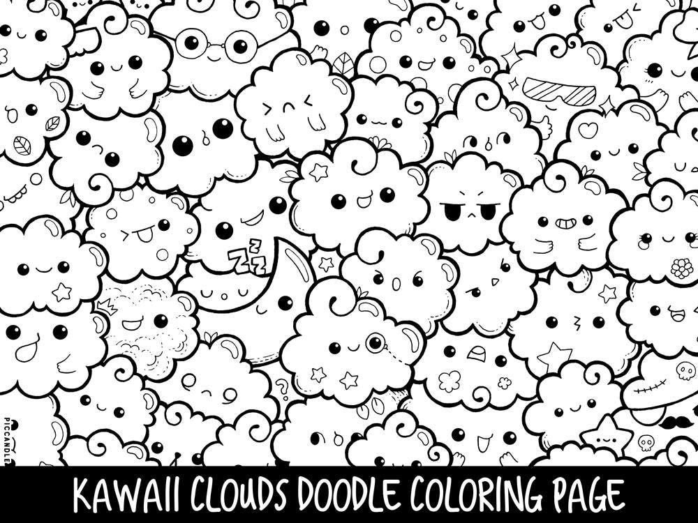 Clouds doodle coloring page printable cute kawaii coloring for Cute marshmallow coloring pages