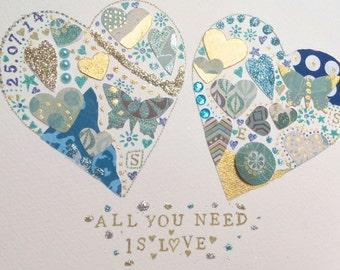 Personalised Wedding/Anniversary/engagement Mixed Media Hearts Original Art