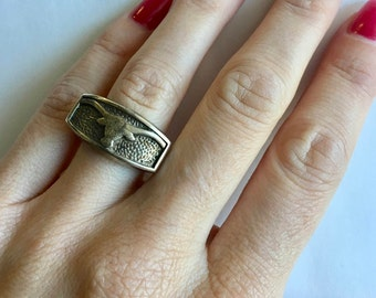 vintage boho sterling silver bull ring size 6.5