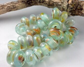 Lampwork Glass Beads, Handmade lampwork bead, lampwork glass 8 bead set, jewelry supply, lampwork spacer bead, artist lampwork, Sand and Sea