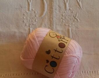 Cotton knit or crochet yarn / knitting or crochet cotton yarn / light pink / cotton baby / cotton
