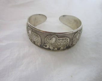 Retro Silver Cuff Bracelet with Embossed & Engraved Elephants