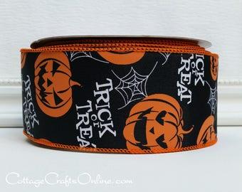 "Halloween Wired Ribbon, 2 1/2"", Orange Jack O'Lanterns on Black - TWENTY FIVE YARD Roll - Offray ""Trick or Treat"" Pumpkin Wire Edged Ribbon"