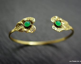 Bangle art deco leaf, leaf bracelet