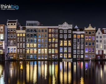 Amsterdam Photography Print Damrak - Canal Houses Photo Water Reflections Boat - The Netherlands - Urban Europe Travel Photograph Wall Art
