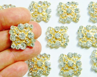 20mm Square Gold Metal Crystal Clear Rhinestone Flatback Button Embellishment DIY Wedding Invitation Bridal Hair Accessories e48hrt 4 Pieces
