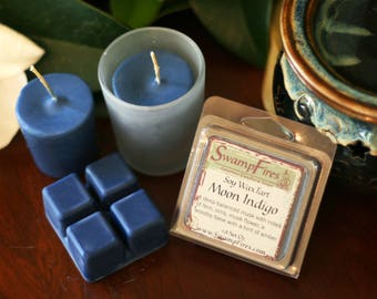 Moon Indigo - Soy Wax Tart or Votive Candle with Essential Oils - Floral Musk, Woodsy