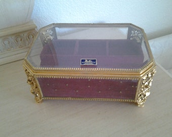 Matson Gold plsted Roses Jewelry Box-Rare size 10x7