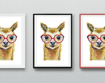 Alpaca/Llama with Heart Glasses Watercolor - Digital Print, Original Artwork