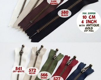 YKK Zipper/Ball Drop Metal Zipper/10cm,12cm,14cm, 16cm, 20cm, 25cm, 30cm/4 inch, 5 inch, 6 inch, 8 inch, 10 inch, 12 inch/ANTIQUE GOLD/2 Pcs