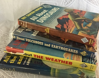 "Vintage Set of 4 ""All About"" books: Dinosaurs, Volcanoes and Earthquakes, the Weather, Arctic and Antarctic / children's science books"