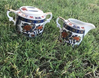 Vintage Sugar and Creamer Set, Japan, Porcelain, The Orient Inc., Sugar Bowl, Hand Decorated, Dining