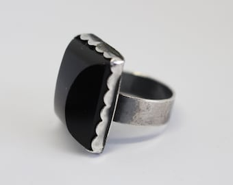 Vintage Sterling Silver Ring with Dark Green Obsidian  - Hand Crafted - one of the kind Size 9 1/2