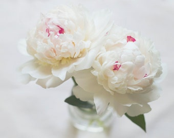 White Peonies photograph, spring flowers, shabby chic,  white, pink, green, spring bouquet, still life, wall decor