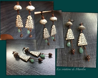 ethnic dangling ear, charms and ceramic bead, brass