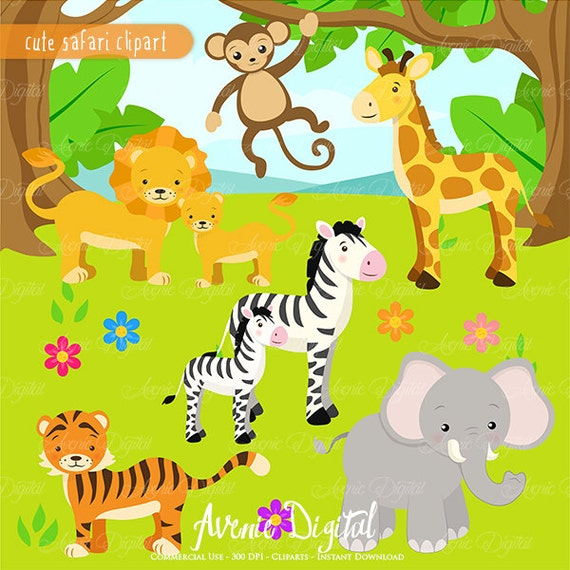 Cute Safari Clipart Scrapbook printables baby animals clip