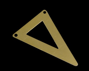 20 pcs 50x33 mm raw brass triangle tag 2 hole connector raw brass charms ,raw brass findings795RD-54