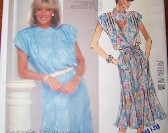 80s McCalls 2547 Linda Evans Nolan Miller Designer for Dynasty 1986 Dress Size 12 Bust 34