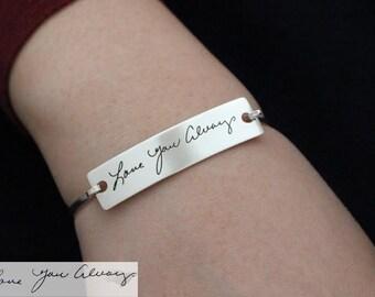 Memorial Bangle - Engraved bangle - Handwriting Bracelet - Signature Bangle - Handwritten Bangle - Mother gift - Christmast Gift