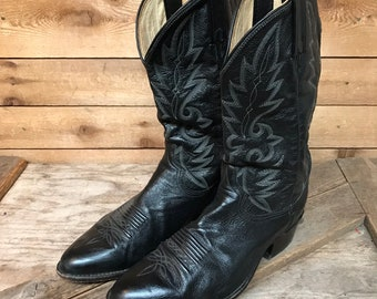 Men's Vintage Dan Post Black Leather Rugged Cowboy Western Boots Size 11 Extra Wide