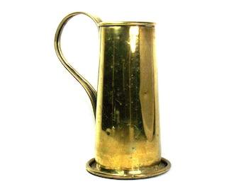 Large Antique Brass Tankard, Antique Tankard, Brass Kitchen Decor, Brass Decor, Rustic Kitchen, Antique Kitchen, Antique Mug, Rustic Decor
