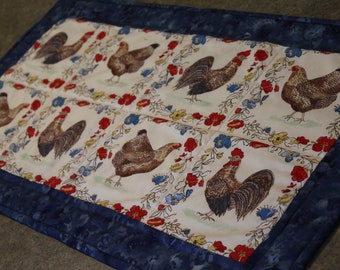 Blue  Chicken Rooster Floral  28 1/2 X 15   Table Runner Topper