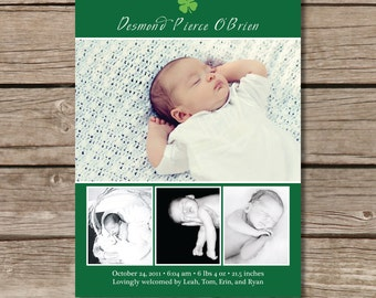 Irish Baby Announcement - Custom Photo Baby Announcement