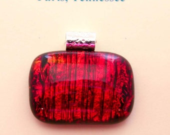 Burning Embers Fused Dichroic Glass Necklace - Fin162  //  Great For Everyday - Special Occasion - As a Gift