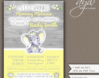 Gender Neutral Baby Sprinkle Invitations Elephant Flowers Yellow Gray Elephant Baby Sprinkle Invitation Printable Invite Neutral Rustic Wood