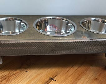"""Reclaimed pallet dog bowl feeding stand 30"""" x 12"""" x 12"""" bigger 3qt bowl for middle driftwood finish"""