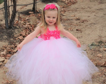 Flower girl dress - Tulle flower girl dress - Pink Flower Girl Dress - Tulle dress - Pageant dress - Princess dress - Pink Dress