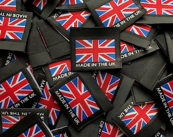 "Union Flag / Union Jack ""Made in the UK"" 35mm Black Woven Labels Garment Accessories Tag"