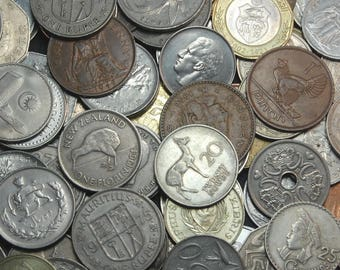 """40 Large World Coins, Dates May Vary From 1900-1990, Each is 1.1""""-1.5"""" in Diameter and NO DUPLICATES"""