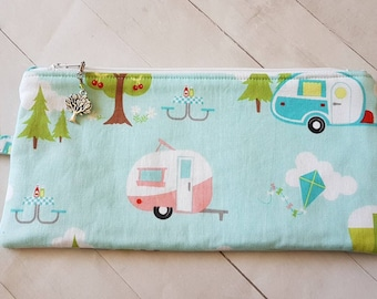 Camper Themed Long Notion Pouch -Crochet Hook Pouch -Knitting Accessory Pouch -Pencil Case -Toiletry Bag